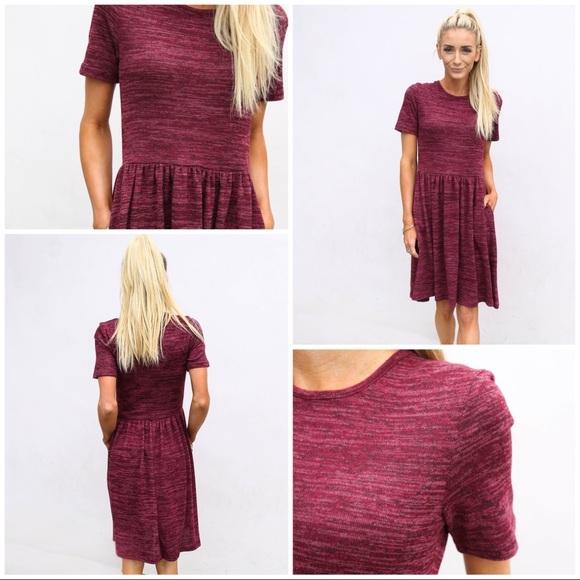 Dresses & Skirts - Pomegranate heathered pocket babydoll dress
